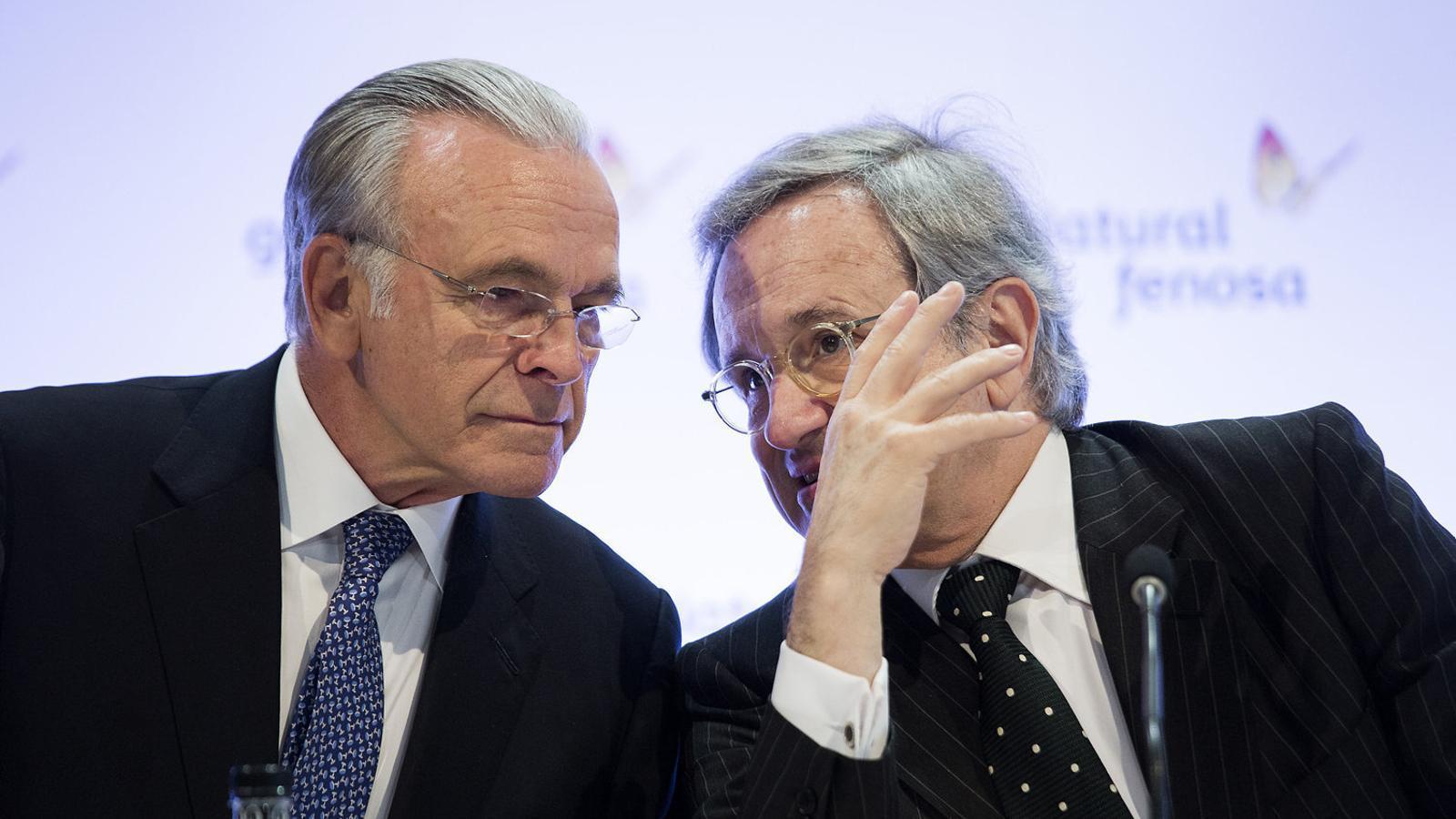 Isidre Fainé, president de Gas Natural (a l'esquerra), amb Rafael Villaseca, conseller delegat.