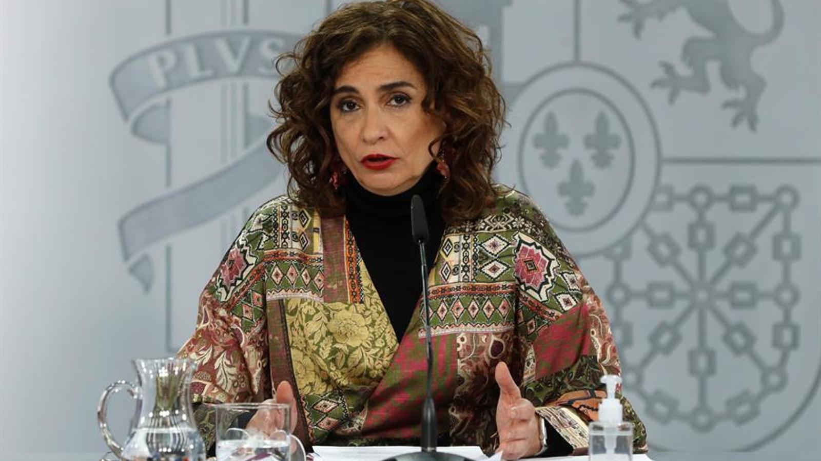 La portaveu del govern espanyol, Maria Jesús Montero, en roda de premsa posterior al consell de ministres d'aquest dimarts.