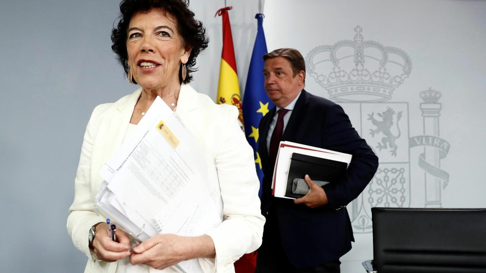 La portaveu del govern espanyol en funcions, Isabel Celaá, després de la roda de premsa del Consell de ministres.