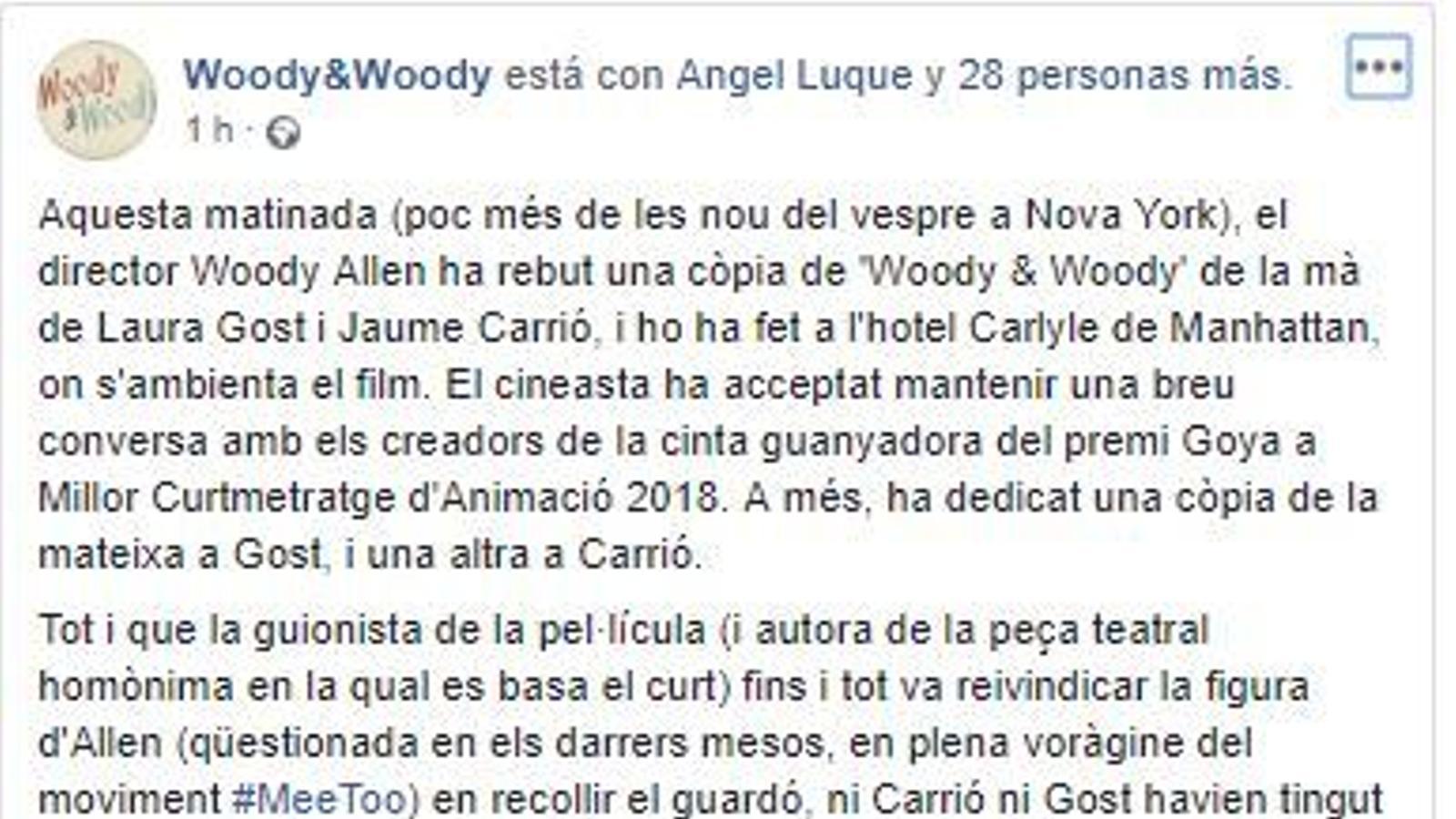 Laura Gost i Jaume Carrió amb Woody Allen