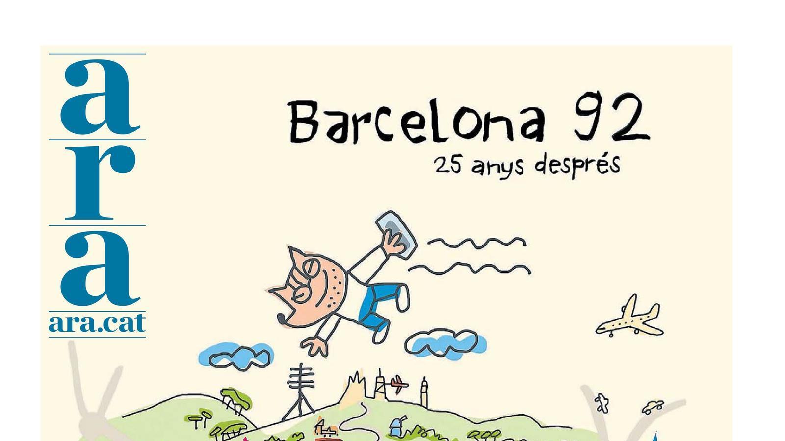 Portada del diari especial '25 anys de Barcelona '92', dissenyada per Javier Mariscal