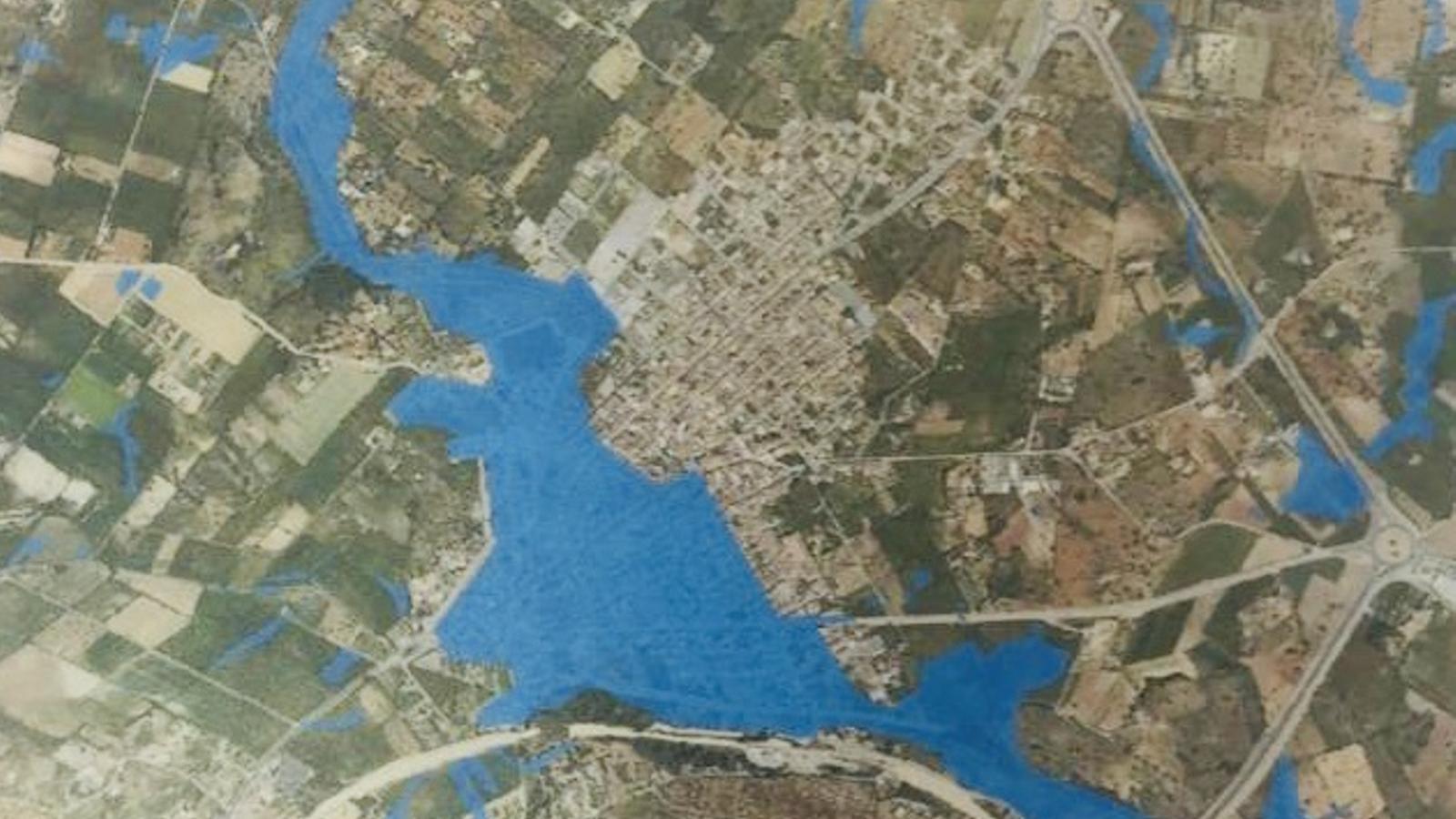 Aquest mapa de Sant Llorenç poble marca les zones inundables properes al nucli urbà.