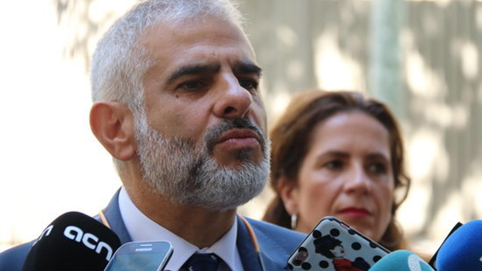 El portaveu de Ciutadans al Parlament, Carlos Carrizosa, en declaracions als mitjans de comunicació aquest dijous