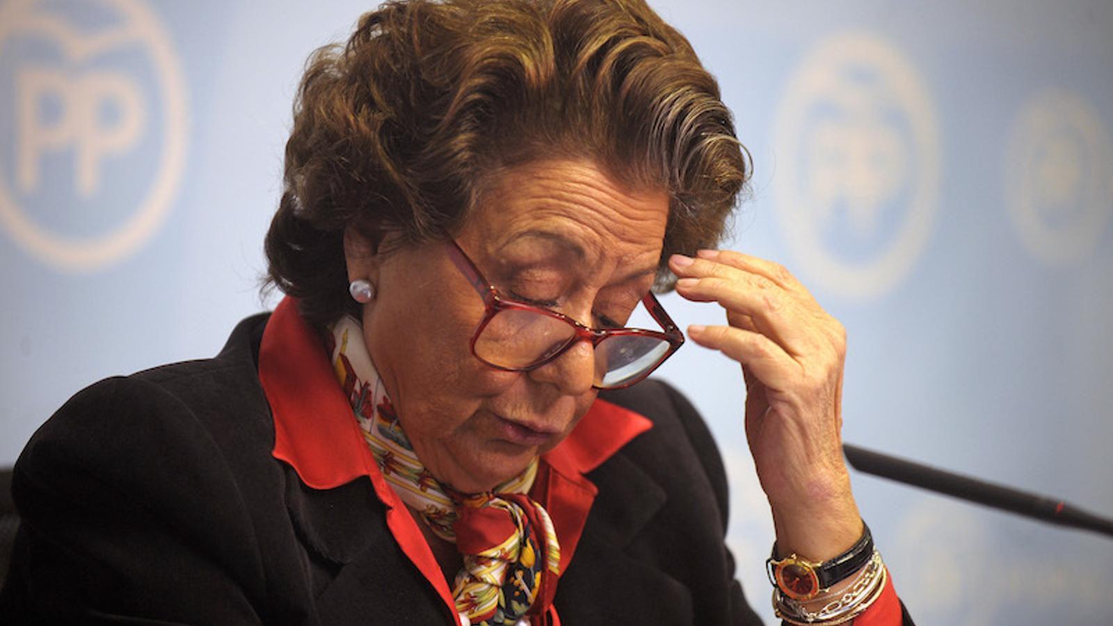 L'exalcaldessa de València Rita Barberá durant la roda de premsa d'aquest dimarts.