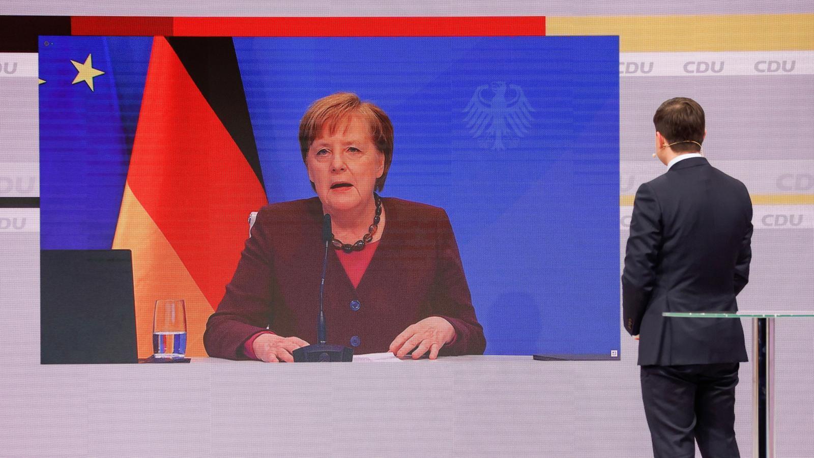 La cancellera alemanya, Angela Merkel, intervé per videoconferència al congrés de la CDU