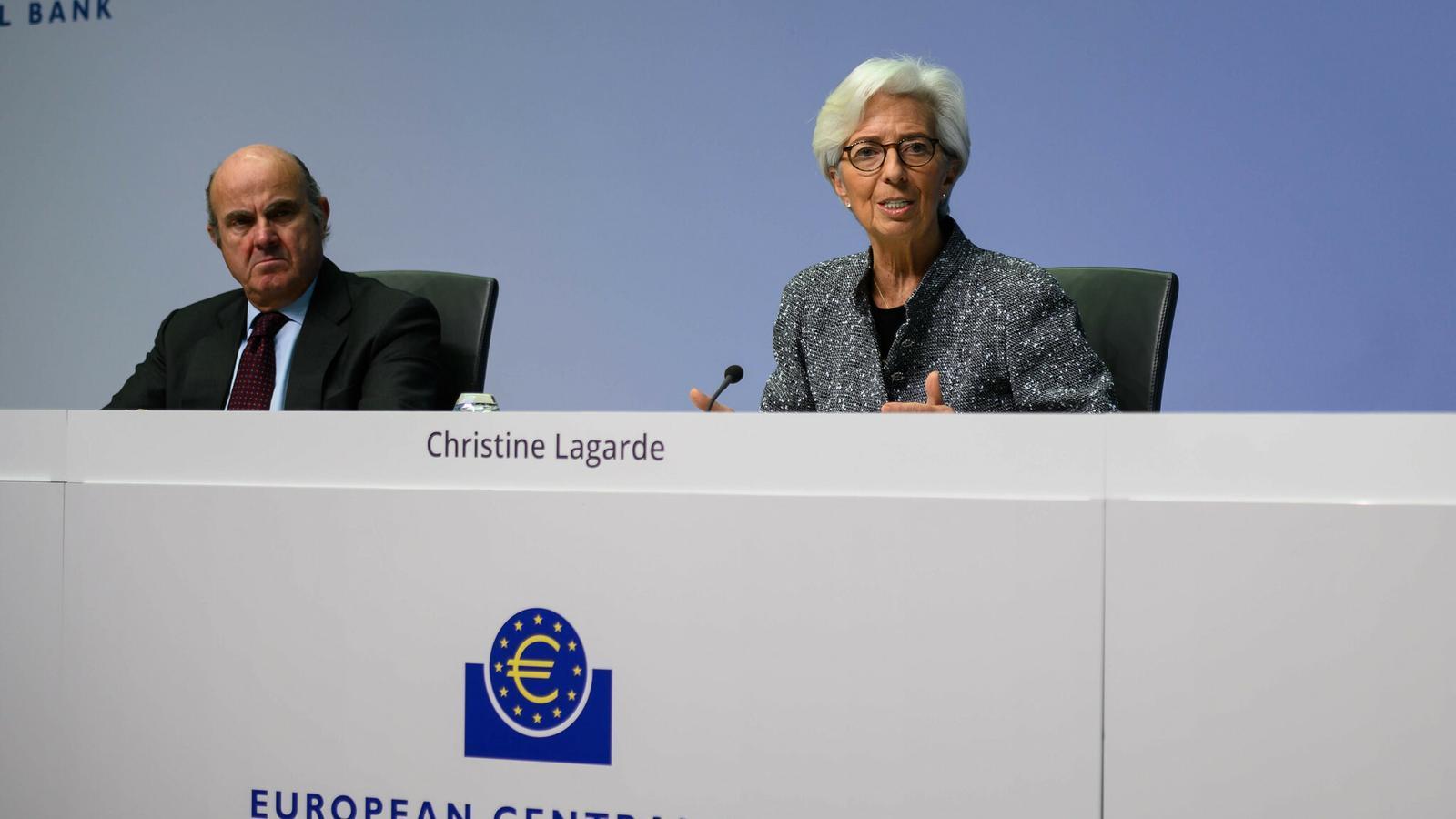La presidenta del BCE, Christine Lagarde, amb el vicepresident, Luis de Guindos, en la seva última roda de premsa.