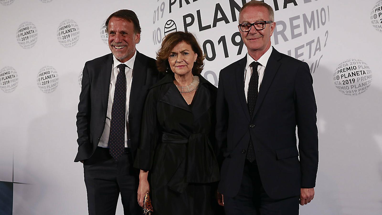 Josep Creuheras, la vicepresidenta Carmen Calvo i el ministre José Guirao.