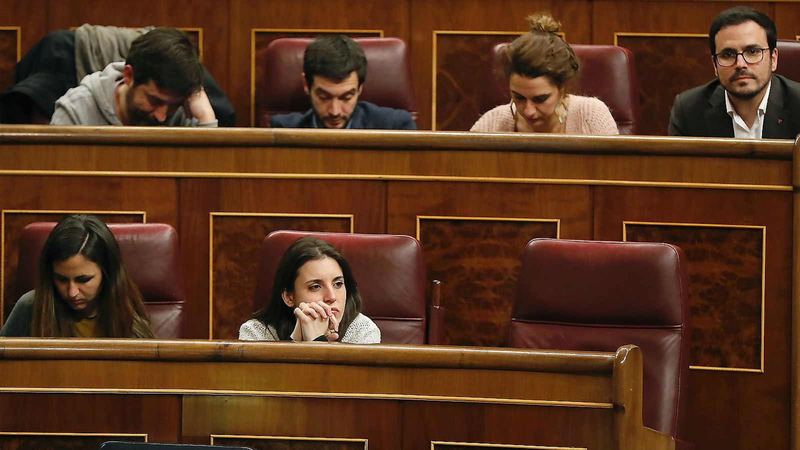 La dirigent de Podem Irene Montero ahir durant el debat al Congrés del decret sobre el lloguer.