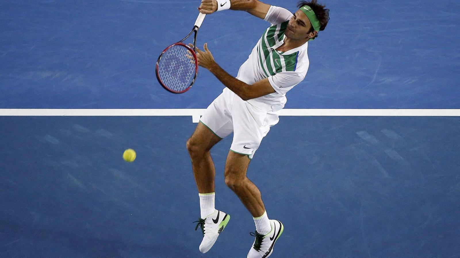 Cop guanyador de Federer en el seu partit contra Dimitrov.