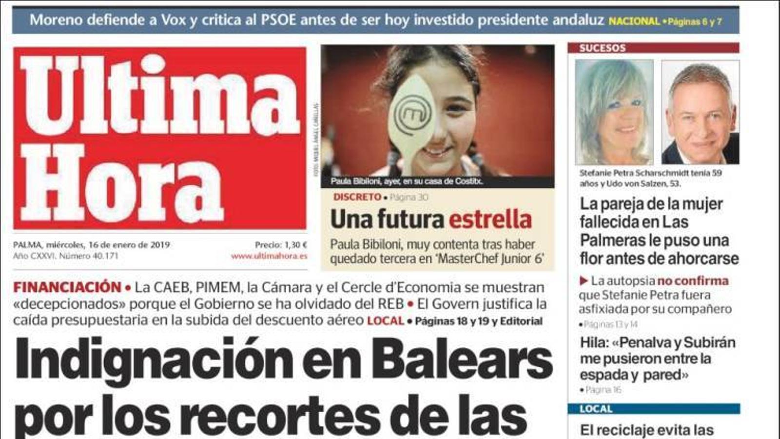 """""""Indignació a les Balears pels retalls de les inversions estatals"""", portada d''Última Hora'"""