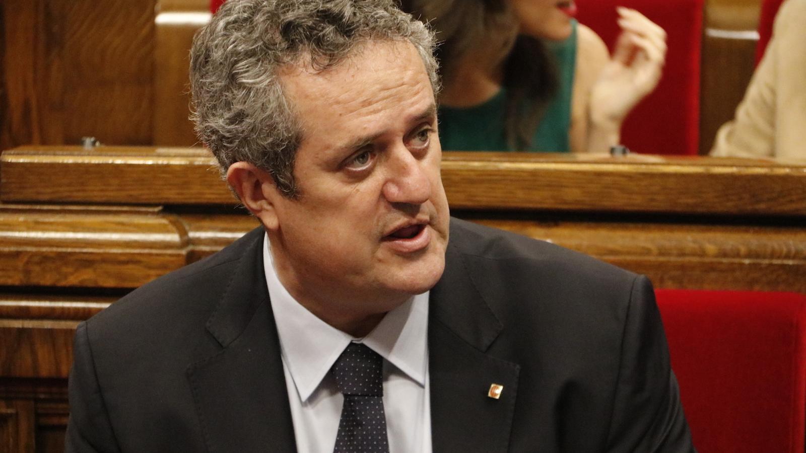 El nou conseller d'Interior, Joaquim Forn, avui al Parlament, on ha respost a preguntes dels grups en la sessió de control