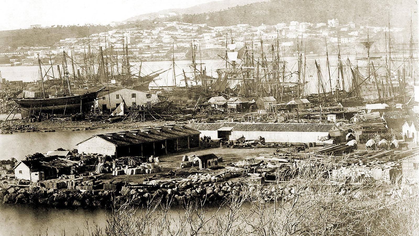 Imatge del port de Palma.  Retrat de Joseph Conrad a la seva adolescència.