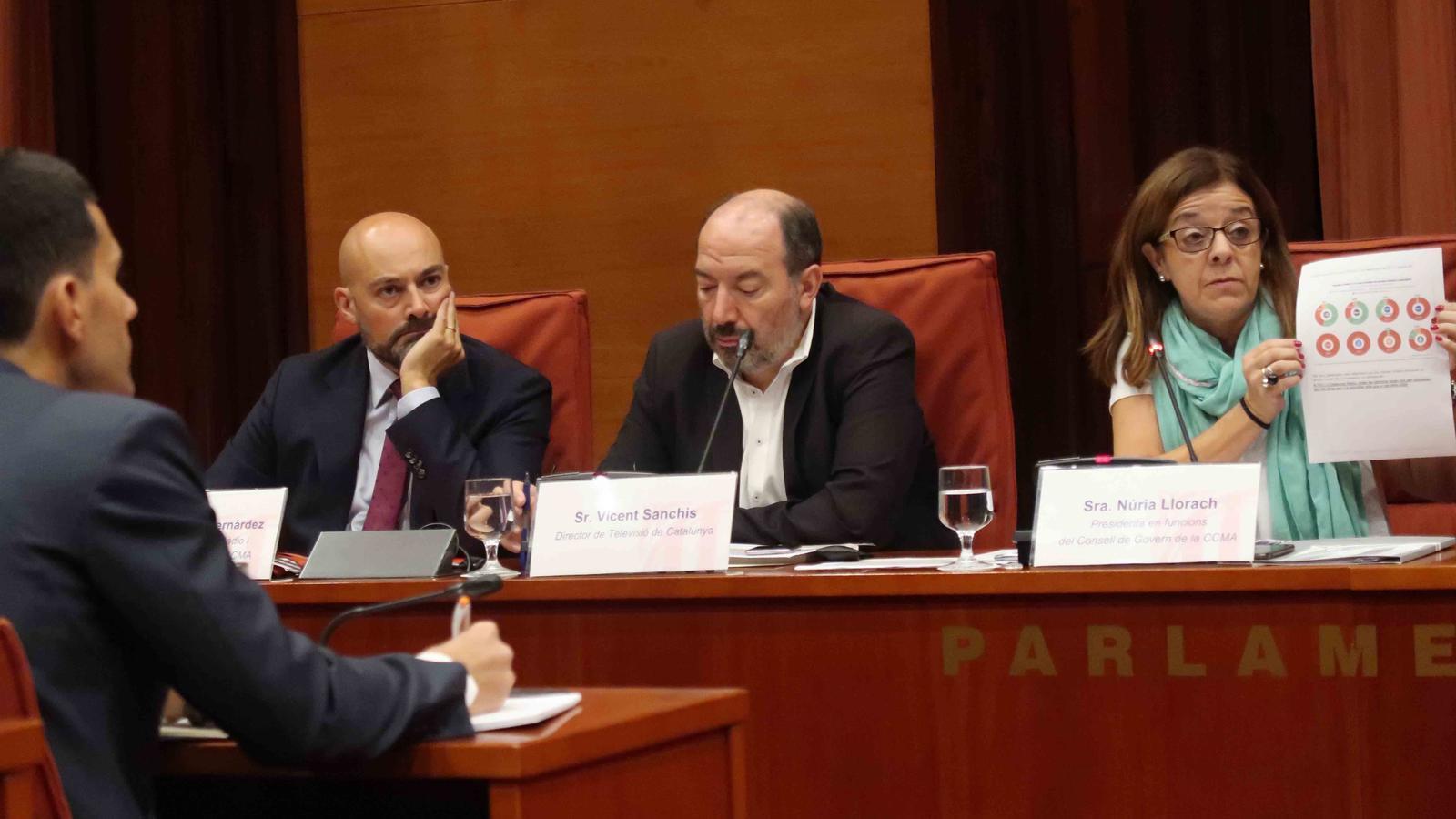 El director de Catalunya Ràdio, Saül Gordill; el de TV3, Vicent Sanchis, i la presidenta en funcions de la CCMA, Núria Llorach, aquest divendres al Parlament