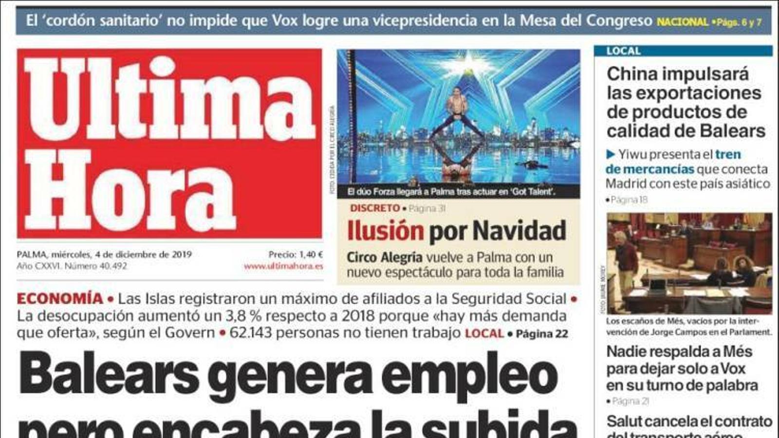 """""""Balears genera treball però encapçala la pujada de l'atur en novembre"""", la portada d''Última Hora'"""