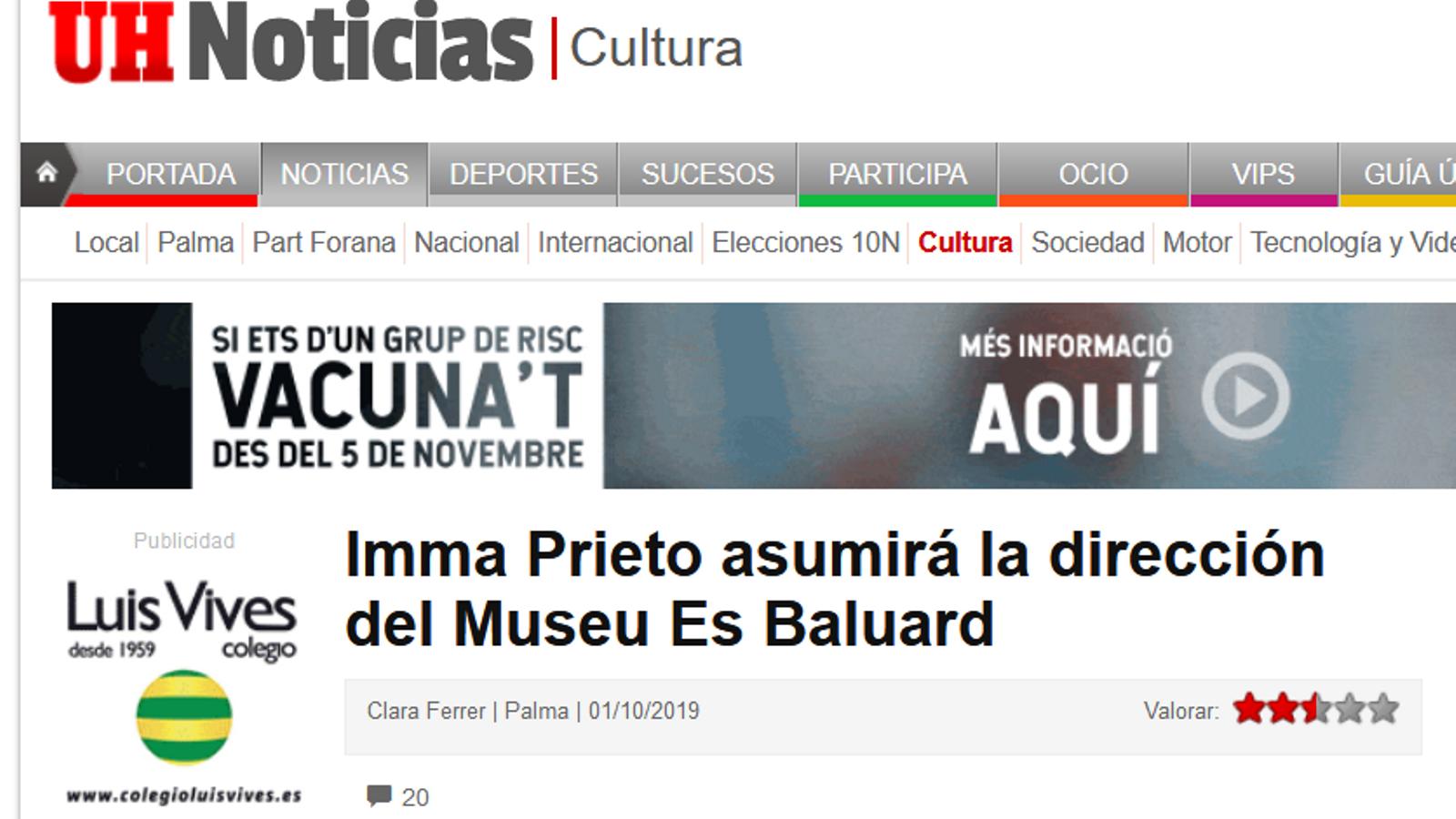 Captura de pantalla de la notícia publicada a 'Última Hora' sobre el nomenament d'Imma Prieto com a directora d'Es Baluard abans que ho comunicàs el museu