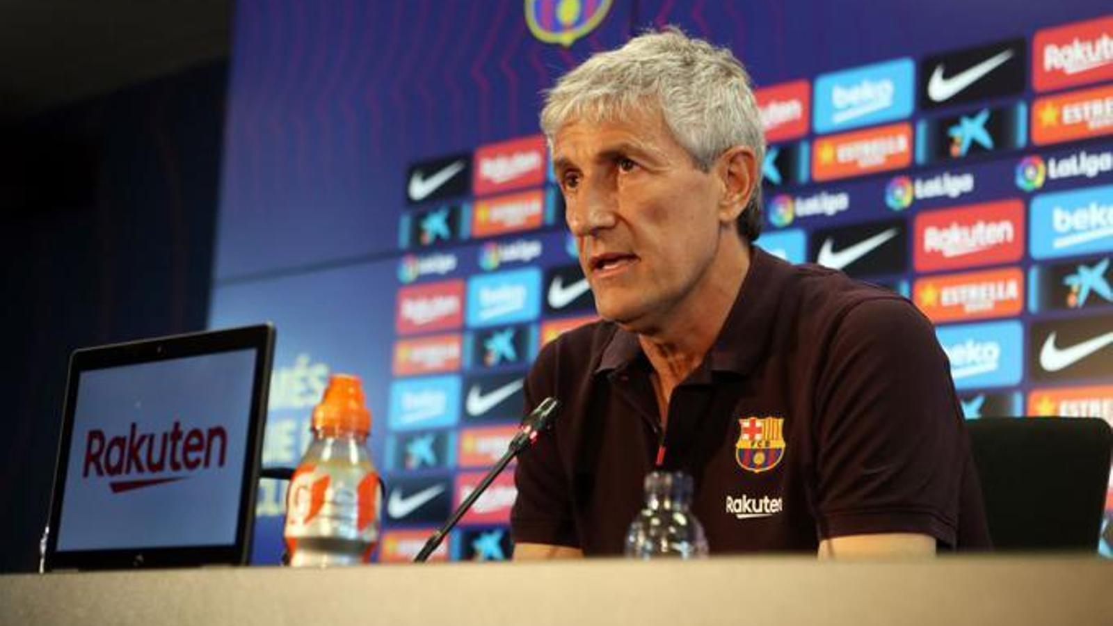 Quique Setién en la roda de premsa prèvia a l'Atlètic de Madrid / EFE