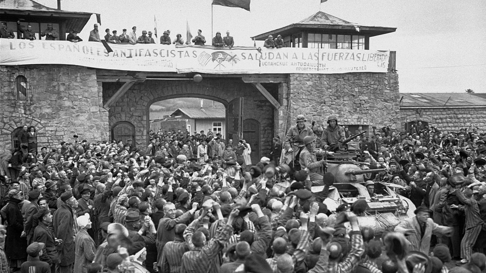 Una imatge de l'alliberament de Mauthausen. / GETTY IMAGES
