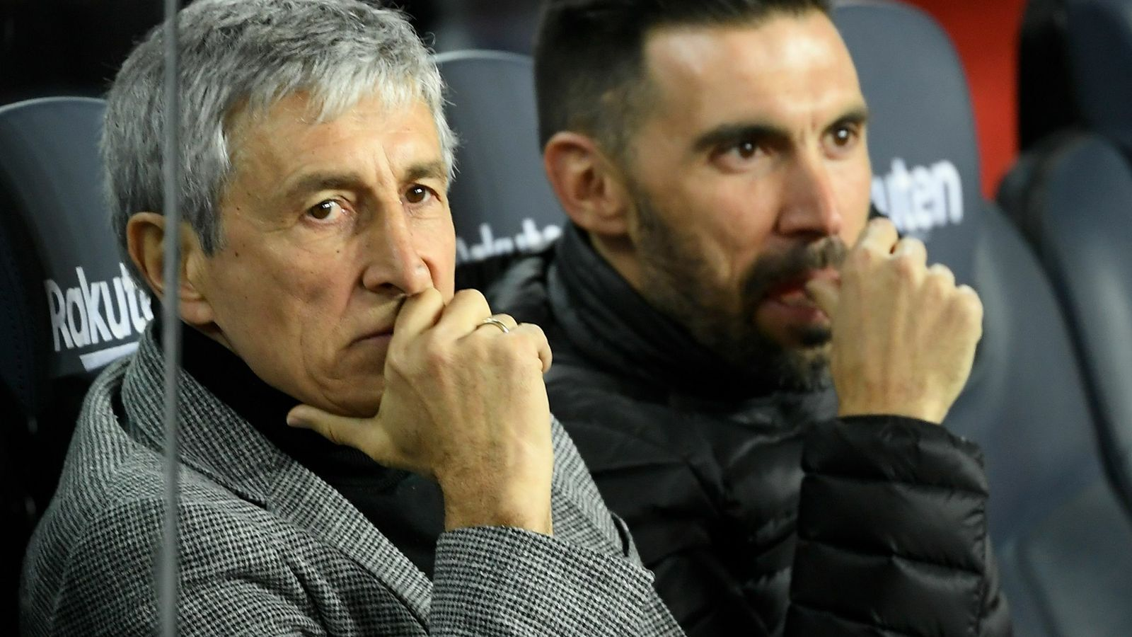 Quique Setién, a la banqueta del Barça