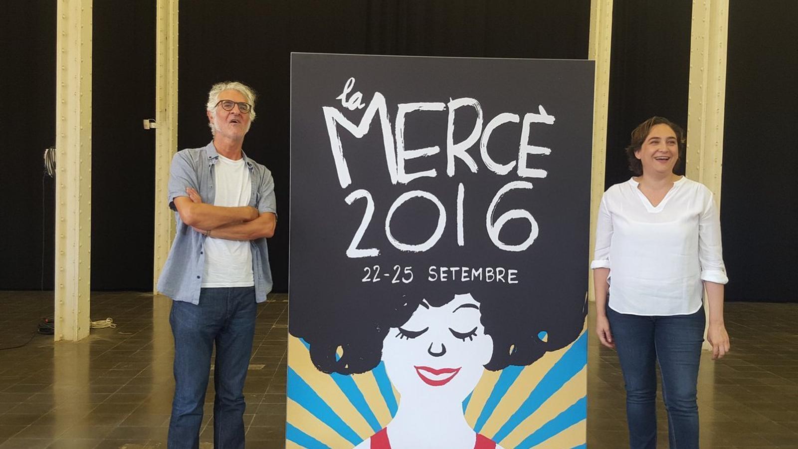 Miguel Gallardo i Ada Colau amb el cartell de la Mercè