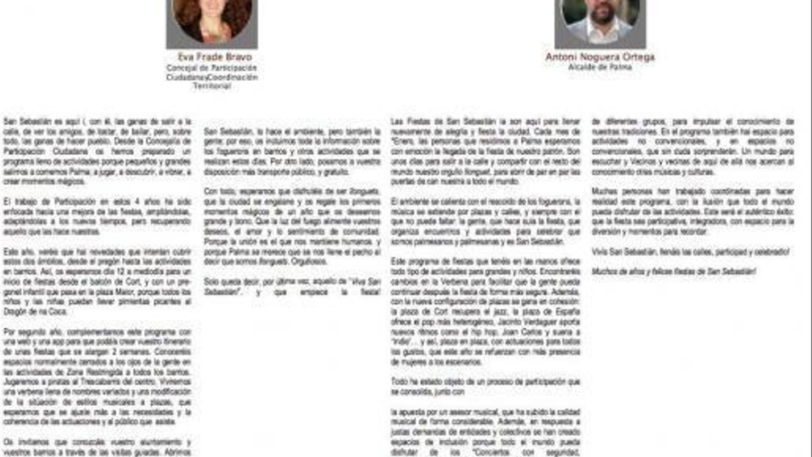 Programa de les festes de Sant Sebastià publicat a la web de l'Ajuntament de Palma