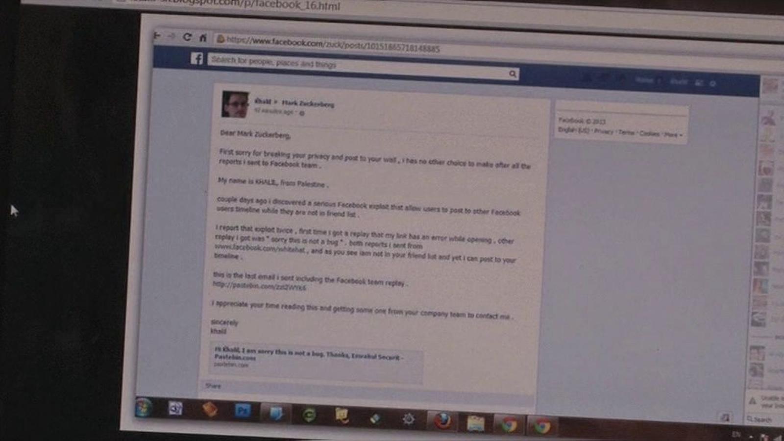 Un 'hacker' palestí es cola al mur de Mark Zuckerberg
