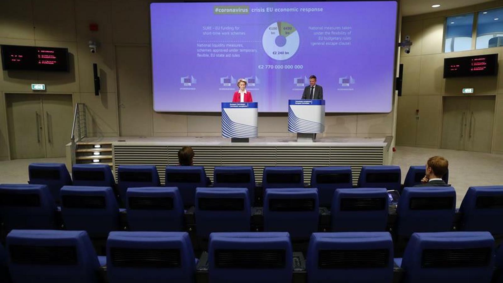 La presidenta de la Comissió Europea, Ursula von der Leyen, en una recent compareixença per parlar de la crisi del coronavirus