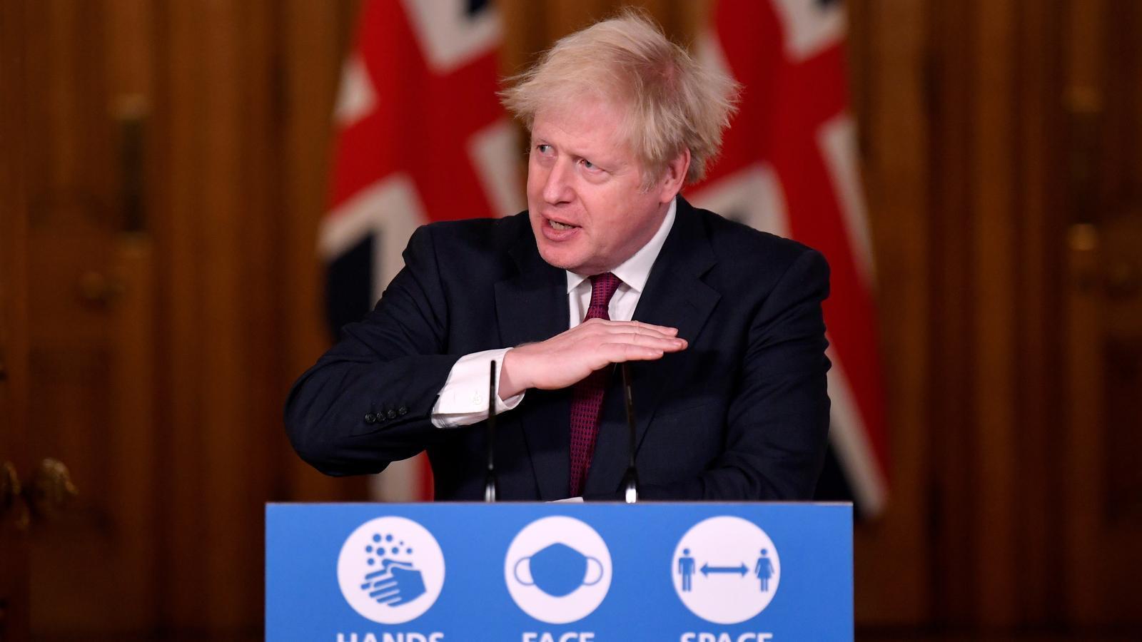 Boris Johnson, durant la conferència de premsa d'aquesta tarda, a Downing Street