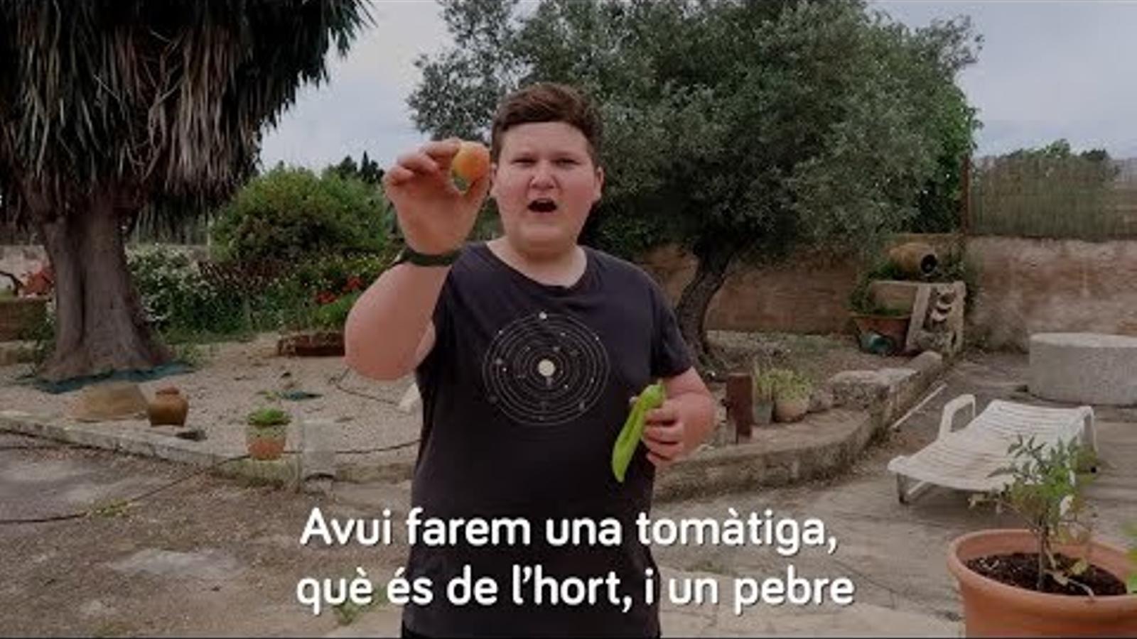 Miquel Montoro explica als alumnes de primària com fer planters de tomàtiga de ramellet i pebre blanc