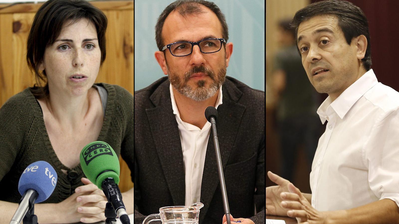 La portaveu del GOB, Margalida Ramis, el vicepresident del Govern, Biel Barceló, i el diputat de MÉS per Menorca, Nel Martí