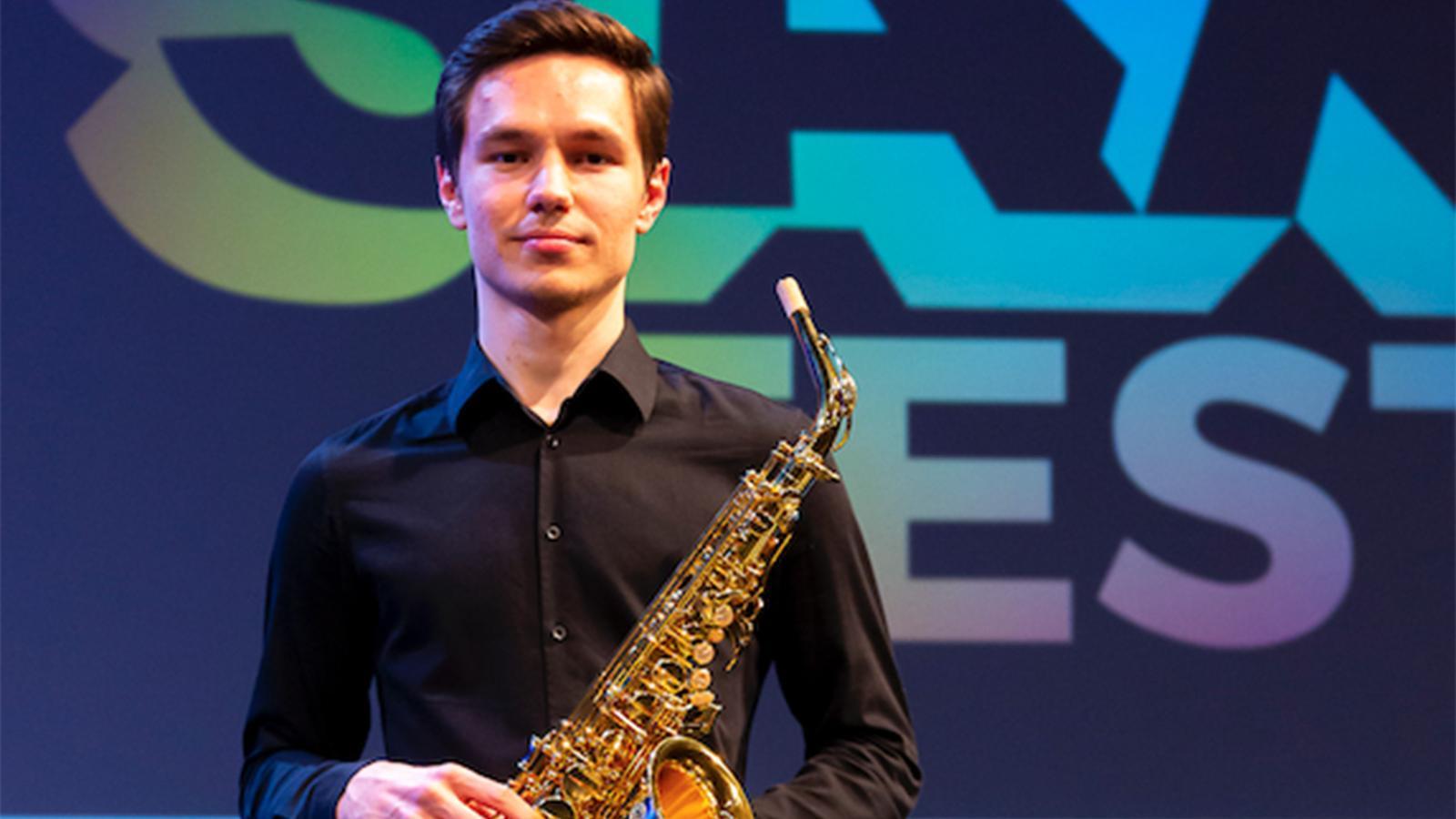 Valemtin Kokalev, guanyador del 6è Concurs Internacional de Saxo d'Andorra. / ANDORRA SAX FEST
