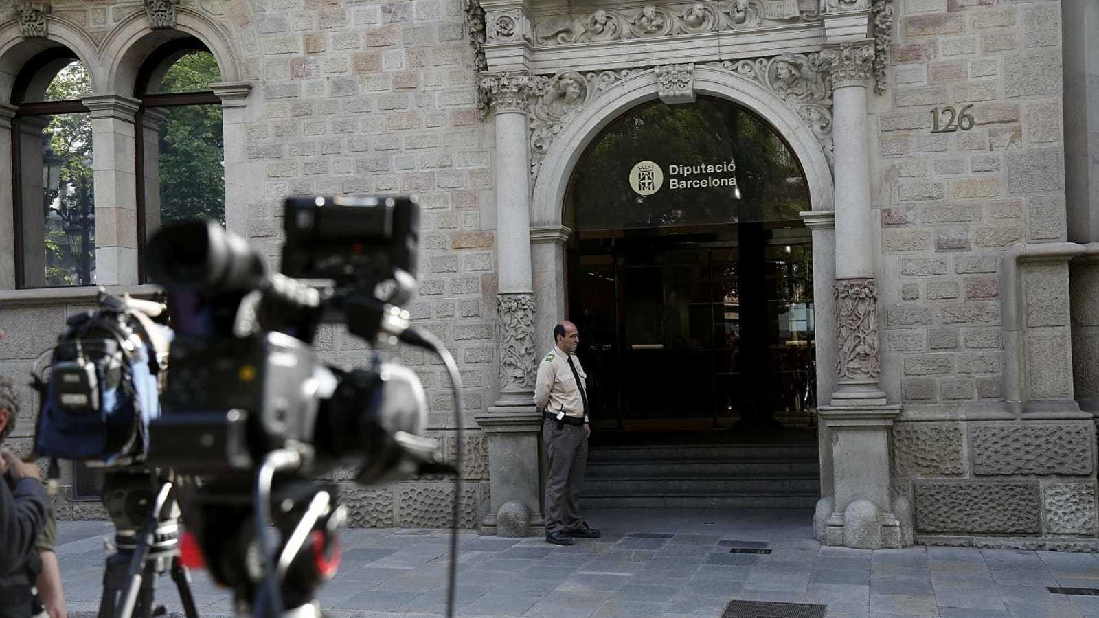 L'entrada a la Diputació de Barcelona, aquest matí