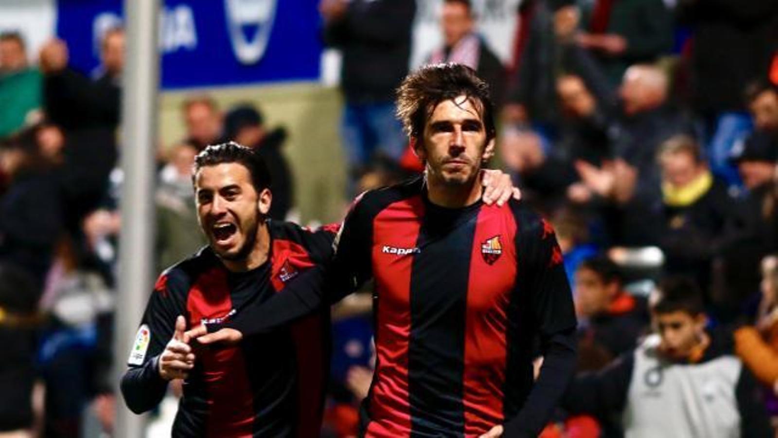 Lekic, celebrant el gol de la victòria del Reus davant l'Almeria