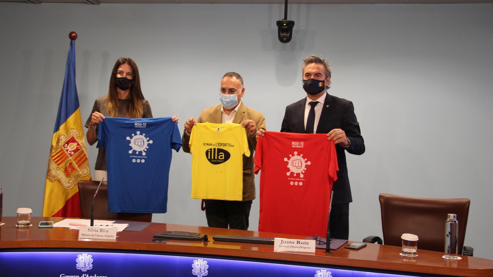 Presentació de la samarreta solidària per a la Setmana de l'esport per a tothom. / ANA