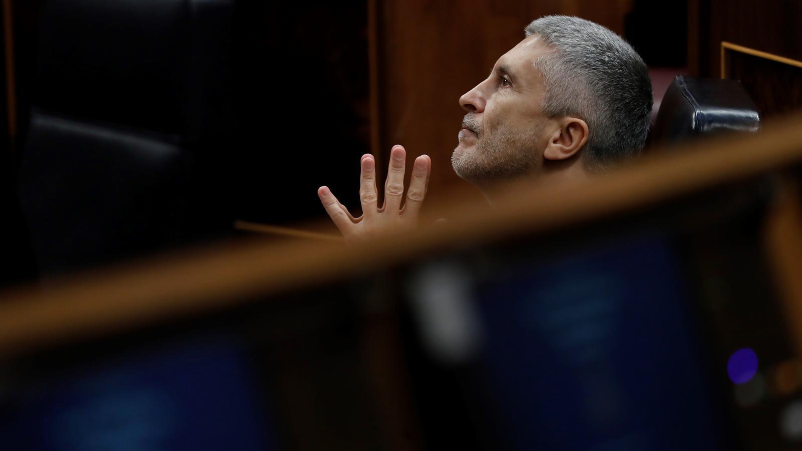El ministre de l'Interior, Fernando Grande-Marlaska, durant la sessió de control al Congrés d'aquest dimecres.