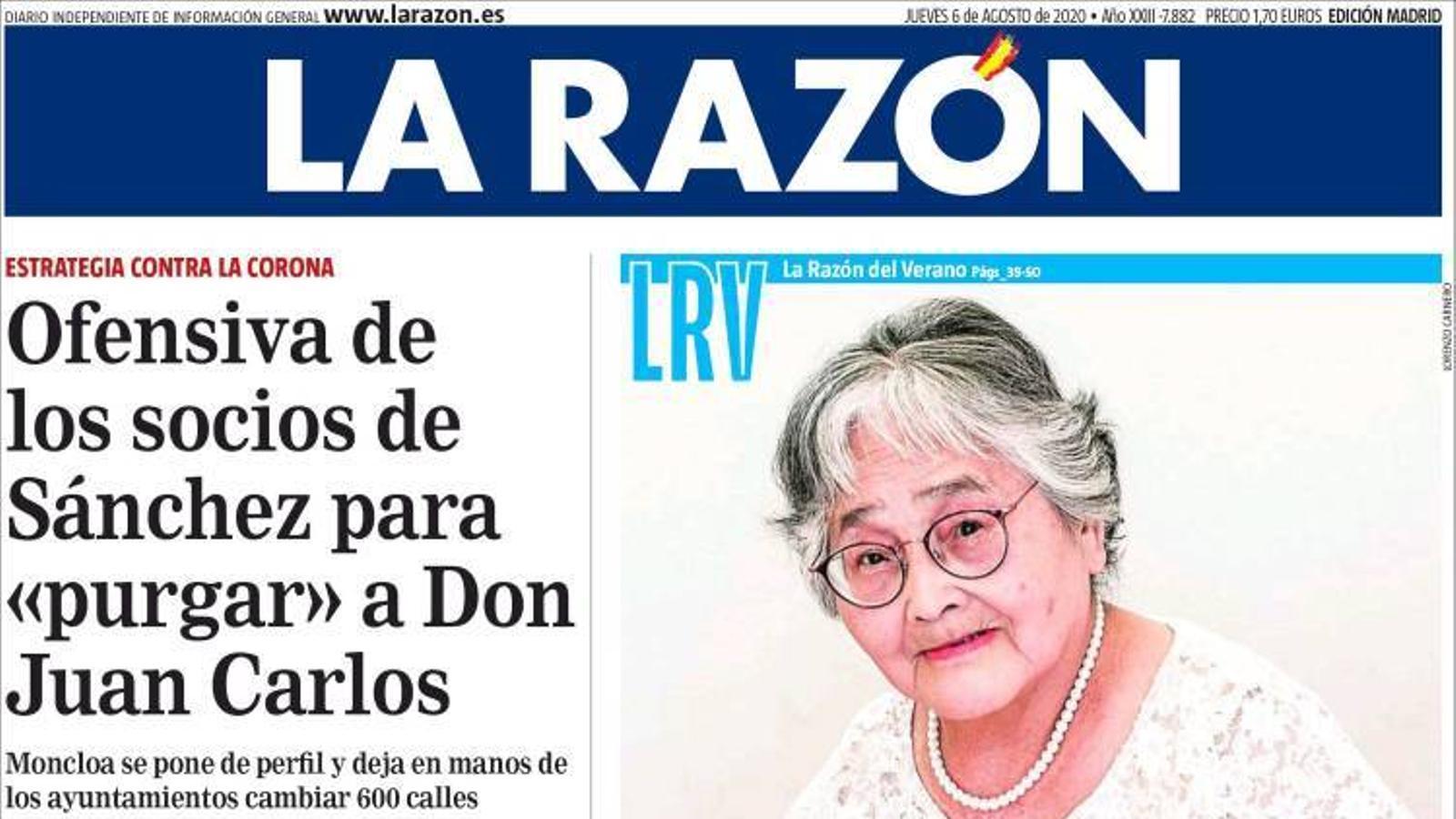 La portada de 'La Razón' del dijous 6 d'agost