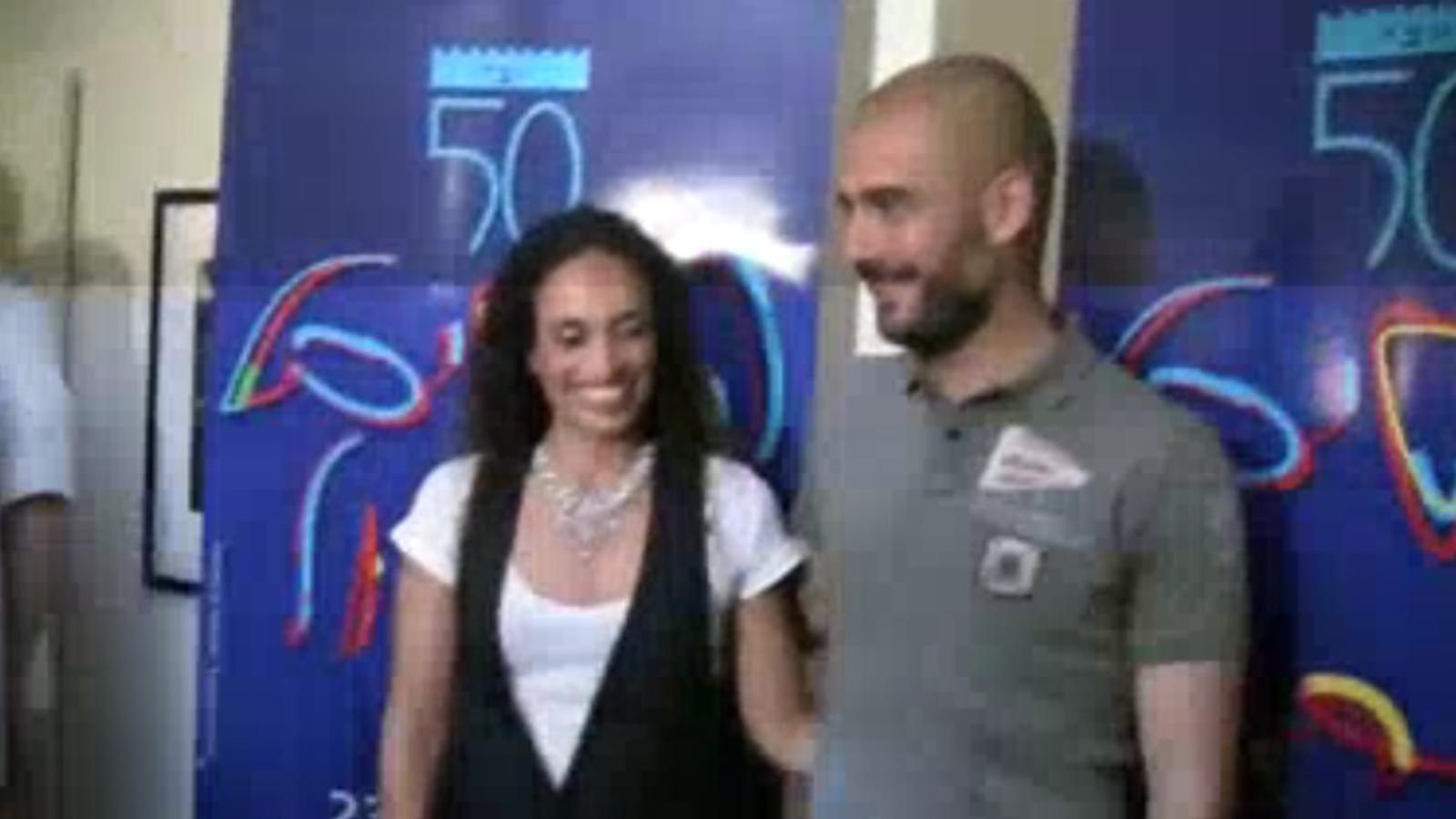Pep Guardiola i Noa, abans del concert a Israel