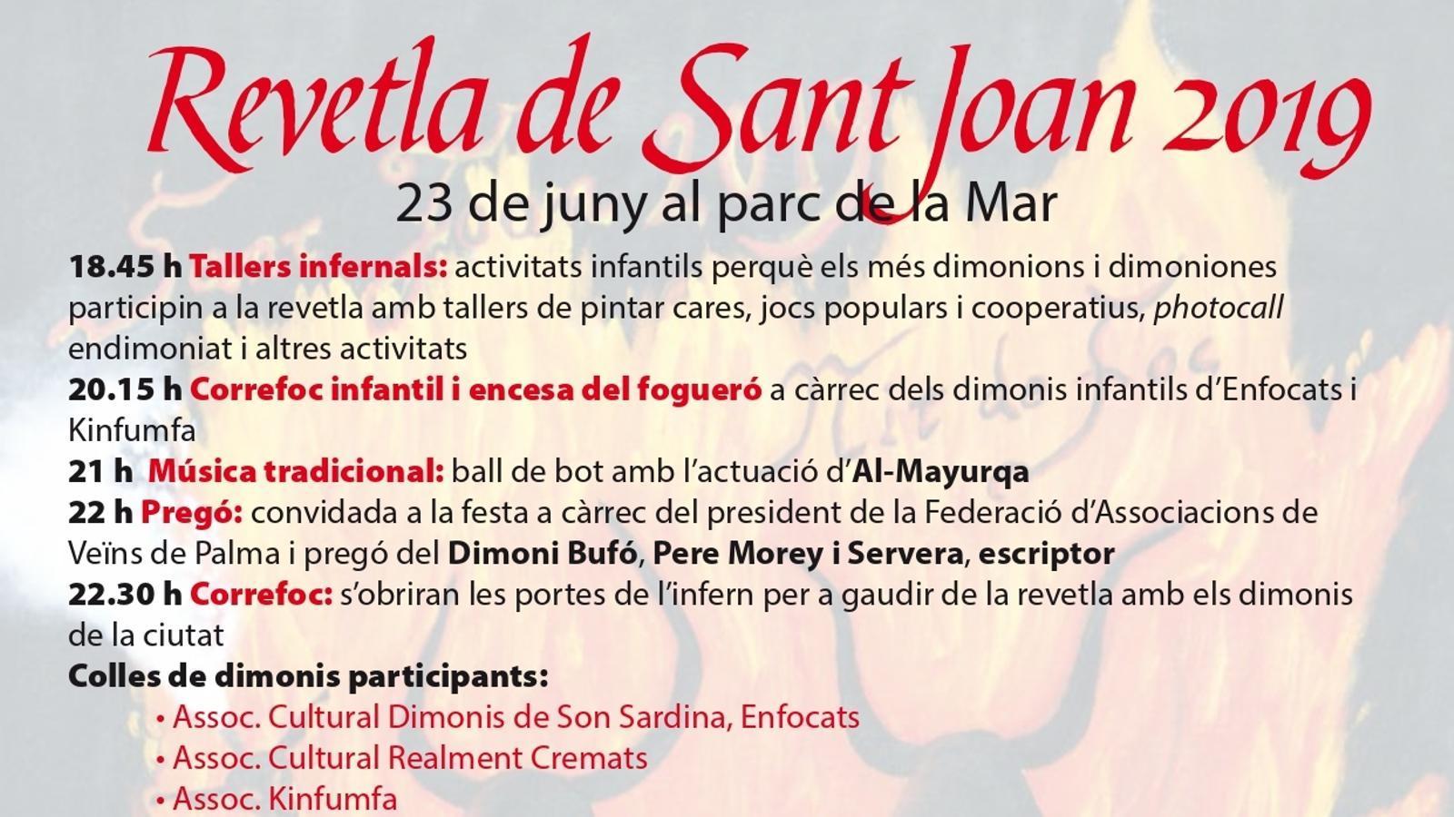 Programa de la revetla de Sant Joan 2019 a Palma. / AJUNTAMENT DE PALMA