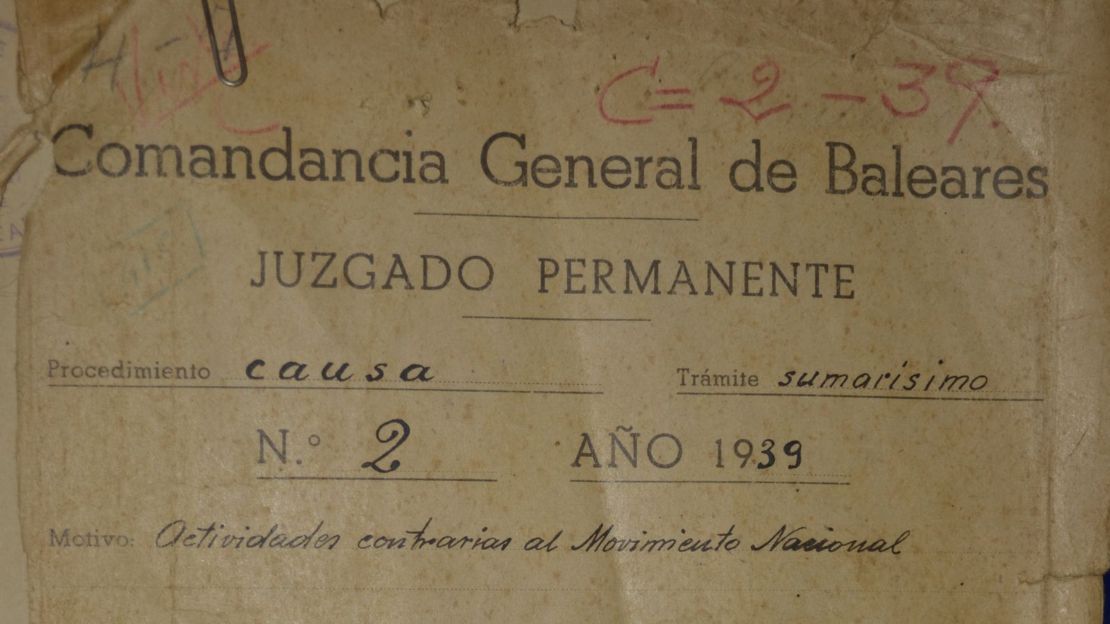 Document d'una causa judicial de 1939