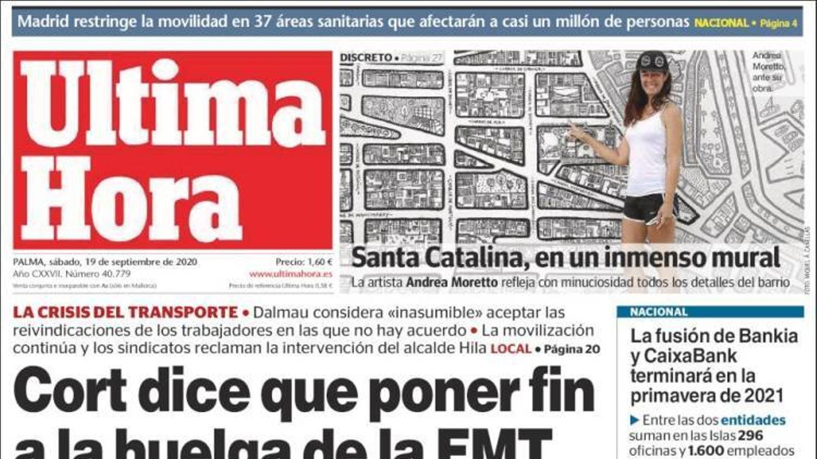 """""""Cort diu que posar fi a la vaga de l'EMT li costarà 12 milions"""", portada de l'Última Hora'"""