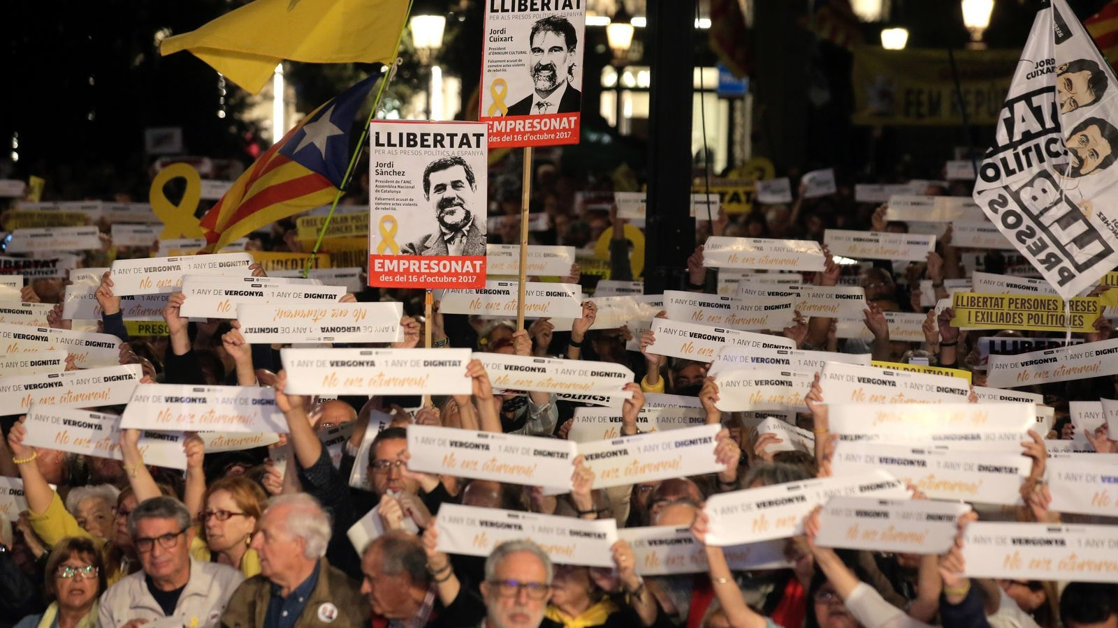 L'independentisme torna a exigir la llibertat dels Jordis un any després del seu empresonament