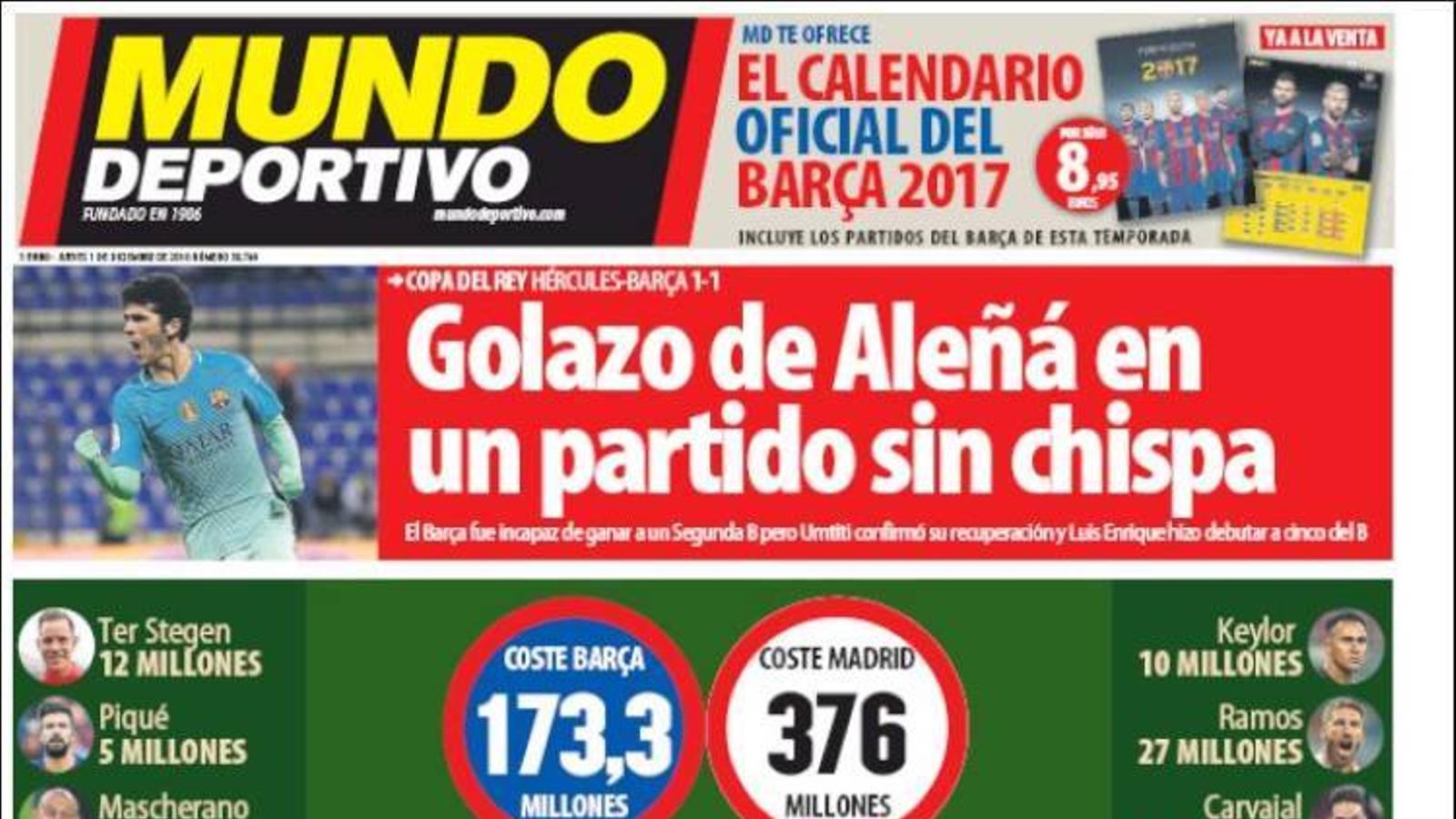 Portada 1 desembre Mundo Deportivo