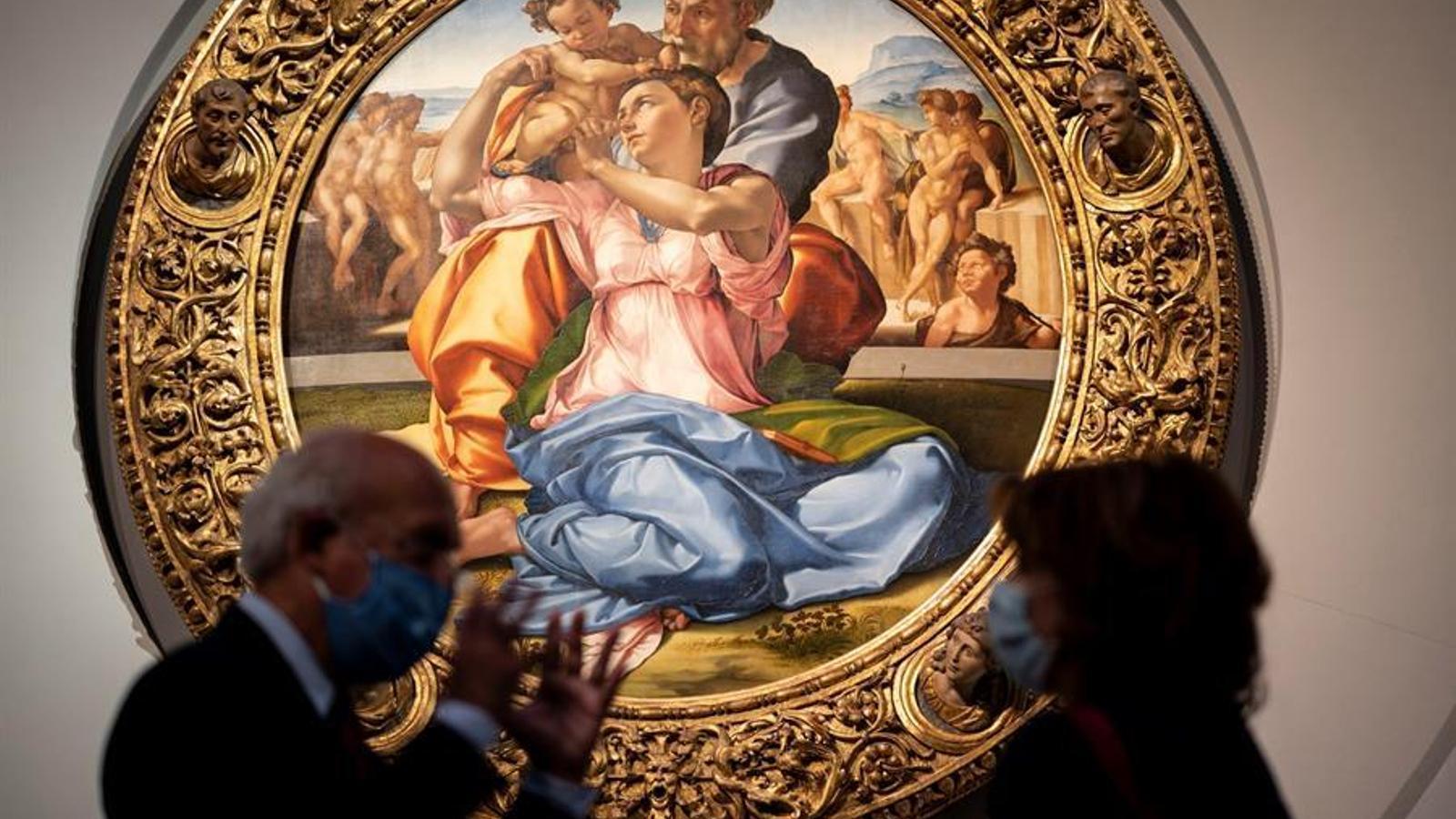Interior de la Galeria dels Uffizi a Florencia que reobre avui les seves portes.