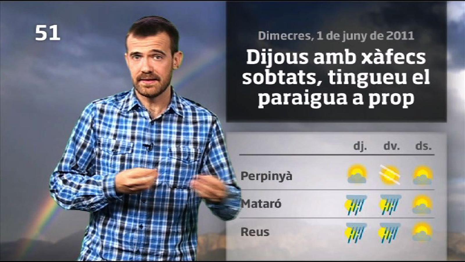 La méteo en 1 minut: dijous fresc i amb xàfecs (01/06/2011)