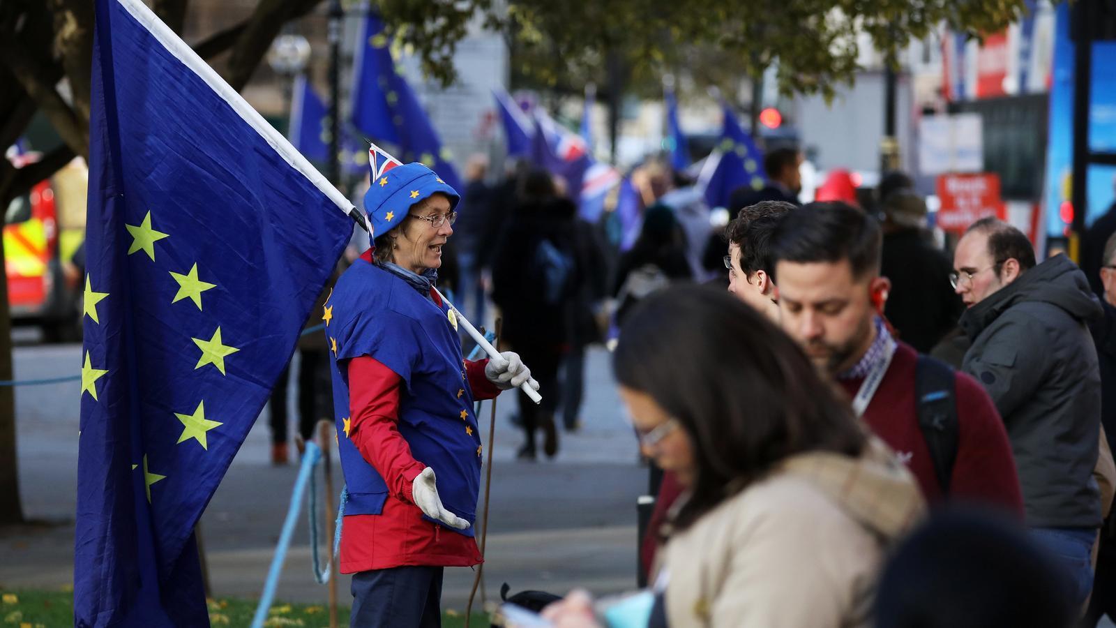 Una dona contrària al Brexit es manifesta davant de les Cases del Parlament de Londres amb una bandera europea