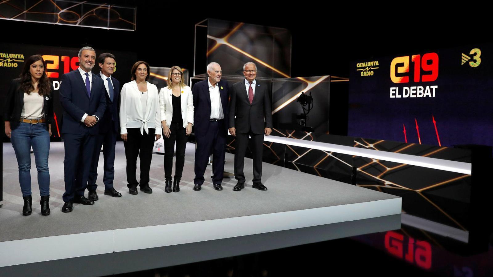 Saliente, Collboni, Valls, Colau, Artadi, Maragall i Bou ahir als estudis de TV3 abans del debat municipal.