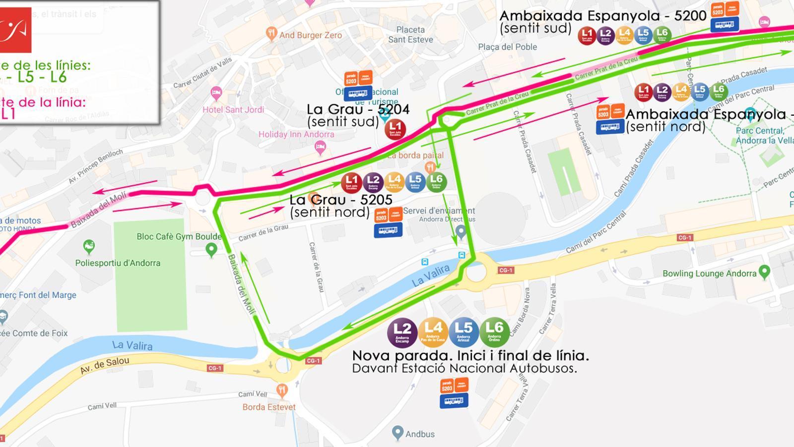 Plànol dels nous trajectes dels autobusos. / COOPERATIVA INTERURBANA