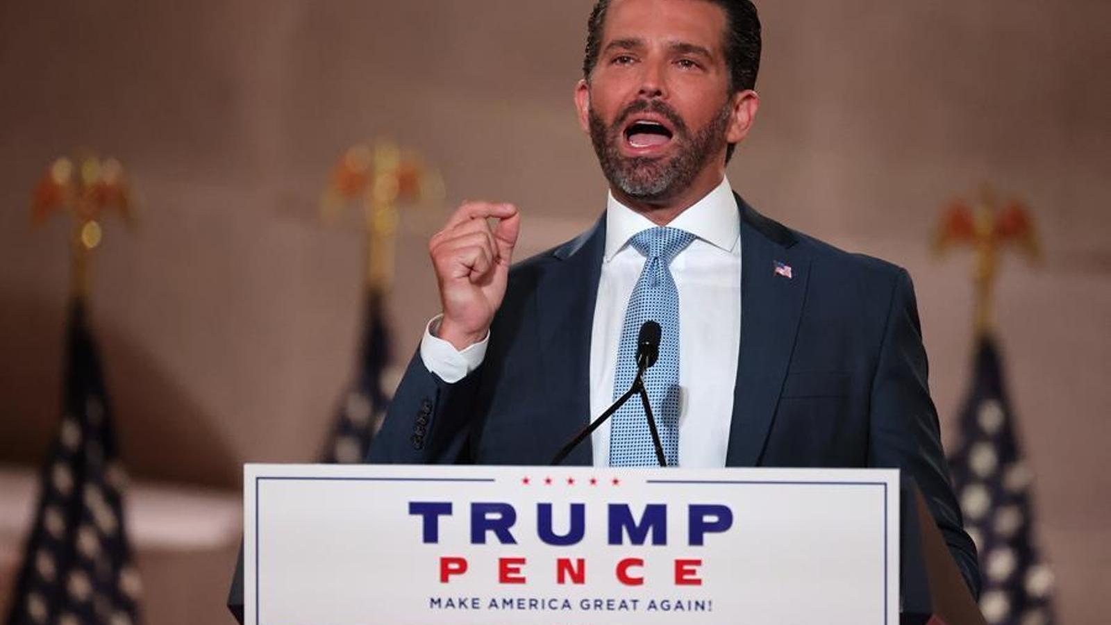 Donald Trump júnior, fill del president i candidat republicà, Donald Trump, en el seu discurs a la convenció republicana