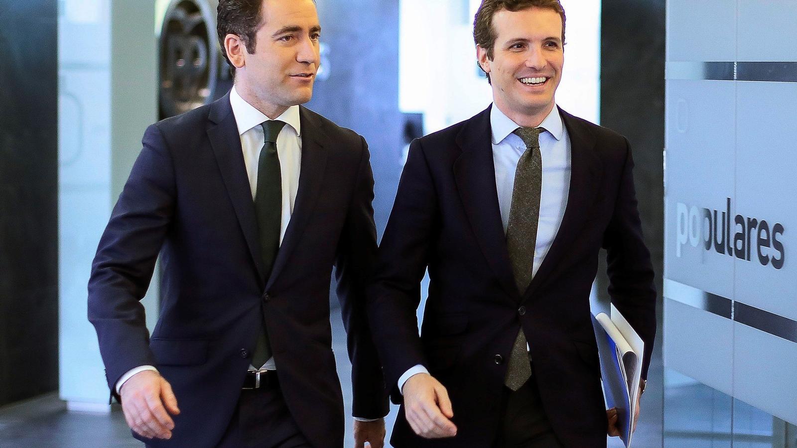 Teodoro García i Pablo Casado aquest dilluns a la reunió del comitè de direcció del partit