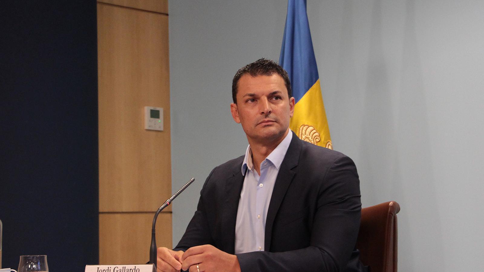 El ministre de Presidència, Economia i Empresa, Jordi Gallardo, durant la roda de premsa posterior al consell de ministres. / ANA