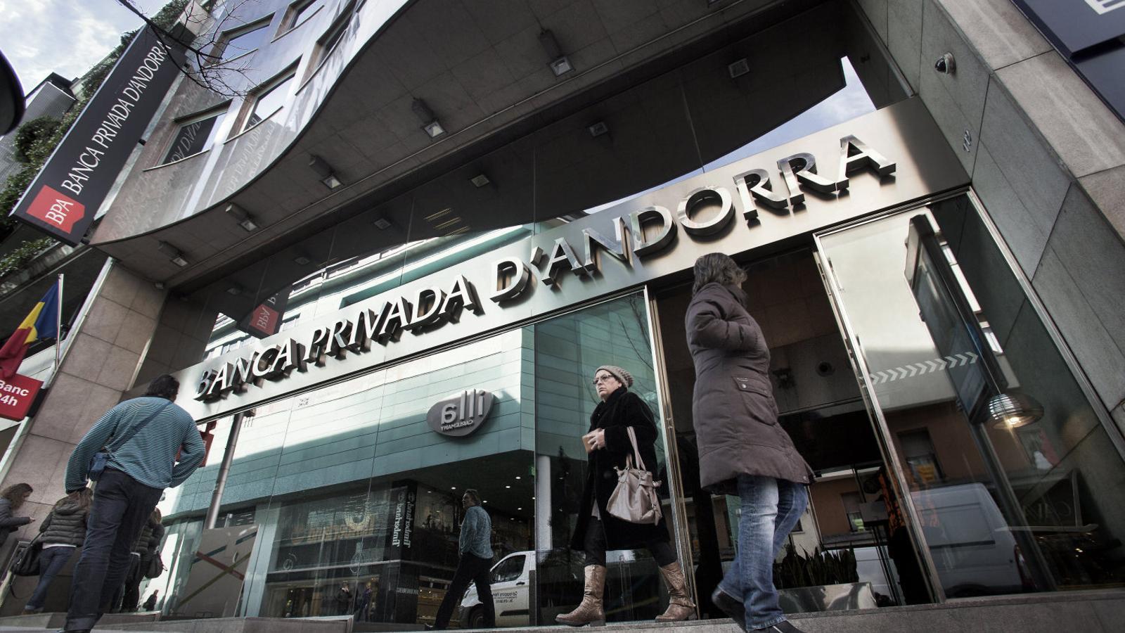 Oficina de Banca Privada d'Andorra l'hivern del 2015, quan l'entitat andorrana va patir el corralito després de les acusacions de blanqueig.